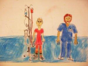 Kinderzeichnung von einem Arzt und einem Kind